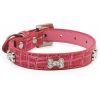COMFY Ошейник CHARLES (35*1,5см) S розовый с косточками со стразами, зам.кожи